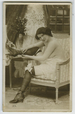 c 1910 French Risque Seated LINGERIE NUDE Lady photo postcard