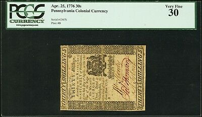 Pennsylvania Colonial Currency, April 25, 1776, 30s, #13076 Plate B, PCGS VF-30