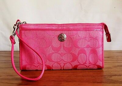 Coach Signature Wristlet Credit Card Wallet Salmon Pink Jacquard Patent Leather