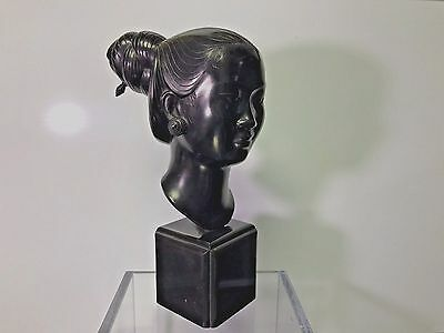c1940 Bronze Bust Sculpture Head of Vietnamese Woman Signed Nguyen Thanh Le