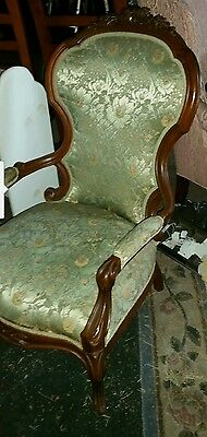 Antique Victorian Carved Walnut Parlour Chair Arm Sell at Round Top $500 +