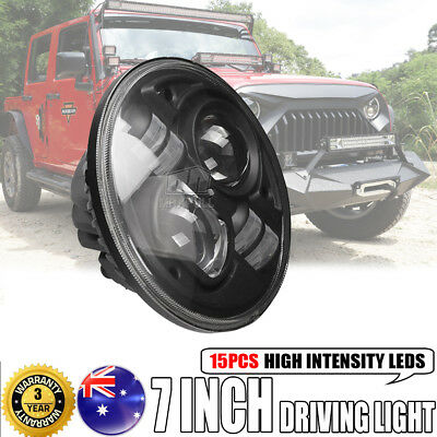 7INCH 100W H4 CREE LED Driving Headlight Round DRL Hi-Lo Beam Offroad For Jeep