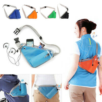 Sports Waist Bum Bag Triangle Running Water Bottle Pocket Shoulder Chest Bag