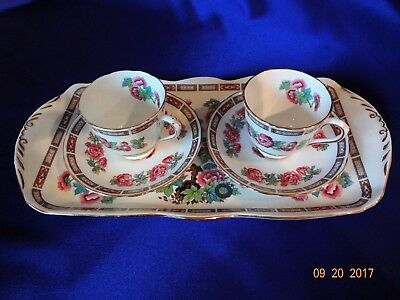 Royal Chelsea English Fine Bone China * Tray w/2 Demitasse Cups & Saucers*Marked