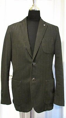 LBM 1911 UNSTRUCTURED FOREST GREEN Cotton SPORT COAT SZ 42 R DUAL VENT