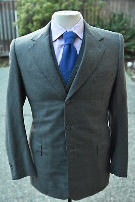 WELCHMAN SAVILE ROW BESPOKE Gray Flannel Wool Handmade Jacket & Vest ENGLAND 38