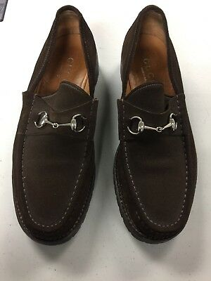 Men's Gucci Horsebit Loafers in Brown Suede - Size 12