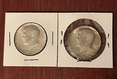 Lot Of 2 - 1964 Kennedy Half Dollars - 90% Silver - Circulated