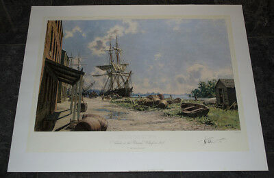 John Stobart Georgetown Vessels at the Potomac Wharf in 1842 s/n No Reserve