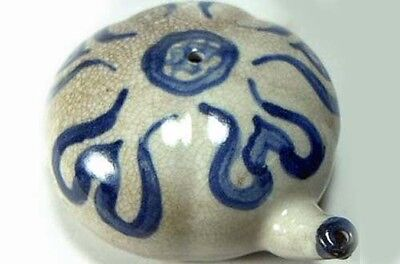 Antique 19thC Chinese Blue + White Ming Style Porcelain Water Dropper (Ink Well)