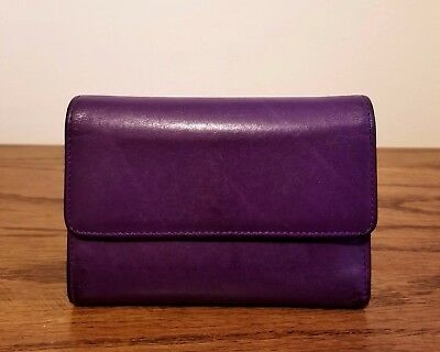 COACH Vintage Purple Leather Bifold Flap Snap Wallet