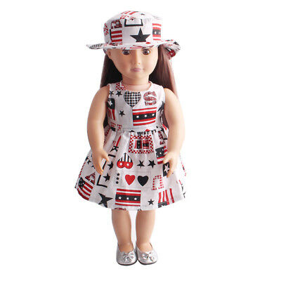 "2pcs Outfit Dress Hat Clothes Set for 18"" American Girl Our Generation Dolls"