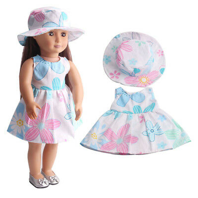 Dolls Clothes Flower Dress w/ Hat Suit Outfit for 18inch American Girl Doll