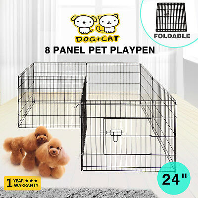 24'' 8 Panel Exercise Pet Playpen Dog Enclosure Puppy Cage Rabbit Fence Crate