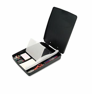 Officemate Extra Storage and Supply Clip Board Box Charcoal Durable Plastic