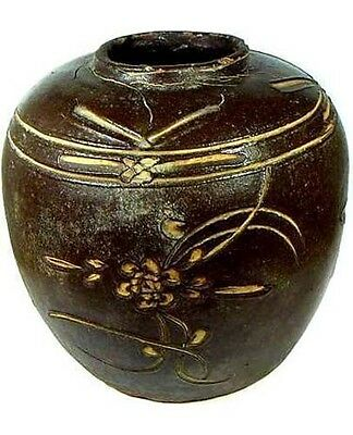 Ming China Antique Incised Glazed Ceramic Vase 17th Century Large Exquisite