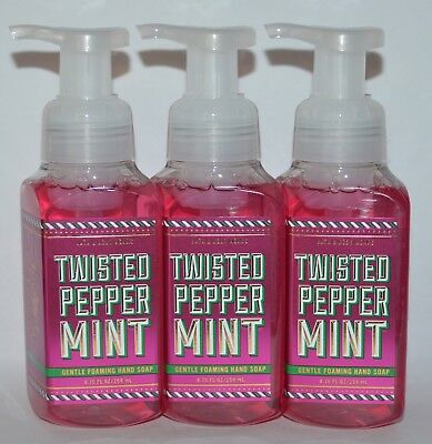 3 Bath & Body Works Twisted Peppermint Gentle Foaming Hand Soap Wash Foam 8.75Oz