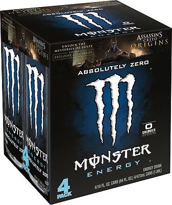 Monster Energy, Absolutely Zero, 16 Ounce (Pack of 4)