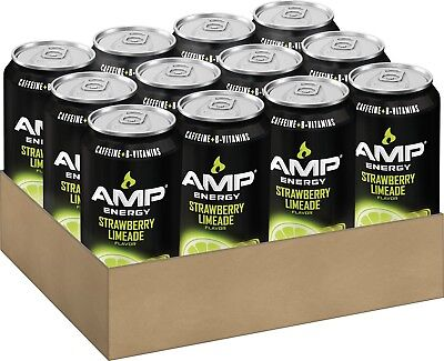 AMP ENERGY, Strawberry Limeade, Caffeine, B Vitamins, 16 Ounce Cans (12 Count)