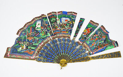 Antique Chinese Export Silver Chinese Gilt Silver Filigree And Enamels Fan
