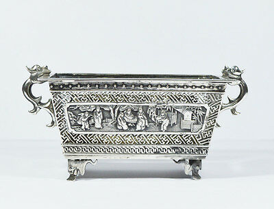 19Th C Antique Chinese Export Silver Jardiniere Sign Luen Wo Shanghai