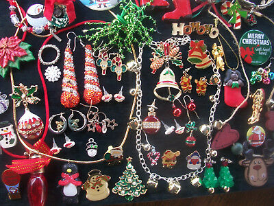 Lot Of Vintage/now Costume Jewelry Christmas Pieces Santa Snowmen More