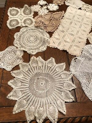 lot of vintage doilies-repurpose. Repair- Crafts 15 piece Lot