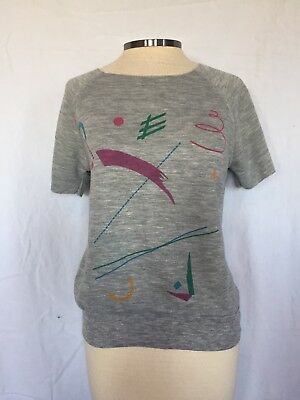 Vintage 1980s Women's Size Small Gray Short Sleeve Sweatshirt Abstract Design