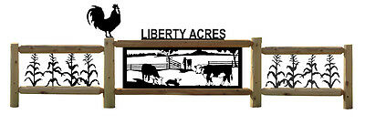 Personalized Farm Sign - Border Fence - Hereford Cattle - Fence - Chickens