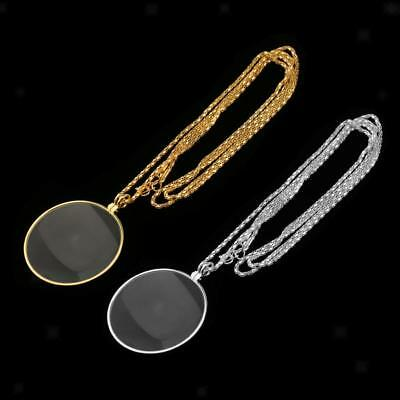 Gold Sivler Magnifying Glass Necklace Chain Reading Map Magnifier Pendant 6X