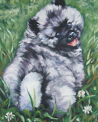 KEESHOND puppy dog portrait art Canvas PRINT of lashepard painting  LSHEP 8x10""