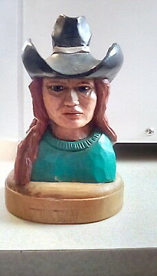 Hand Carved Solid Wood  Indian Woman Bust Sculpture Statue Western Art
