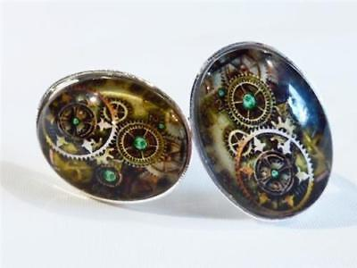 Silver Plated Cufflinks - Clock & Watch Parts - Gift Bag - Free Uk P&p.....w0853