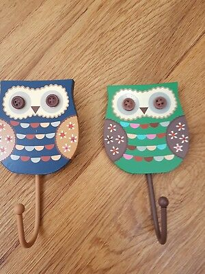 wooden cute owl hook green or blue sass and belle brand bedroom