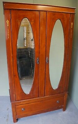 Antique Edwardian Inlaid Solid Mahogany Double Door Wardrobe With Drawer