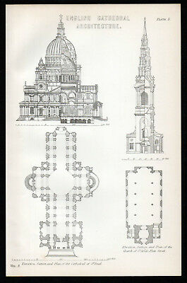 ENGLISH CATHEDRAL ARCHITECTURE 1883 St. Paul, St. Bride ANTIQUE LITHOGRAPH #5