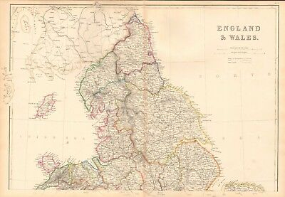 1859  Large Antique Map - Weller- England And Wales, Complete In 2 Maps