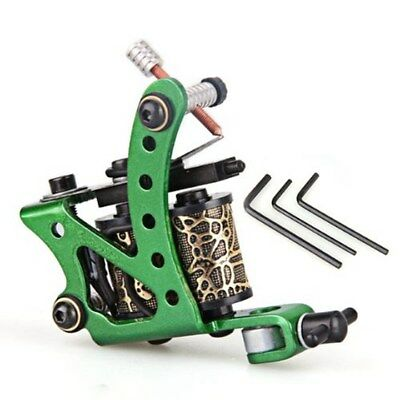 Professional Green Tattoo Machine Gun for Shader Liner 8 Wrap Coils S2D3