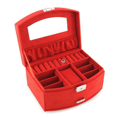 Jewelry case jewelry case makeup case jewelry case 1/2 red D4W7