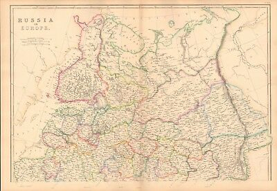 1859  Large Antique Map -Weller- Russia In Europe,Russian Empire,Acquisitions