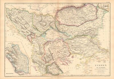 1859  Large Antique Map - Lowry - Turkey In Europe, Inset Of Moldavia