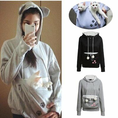 Unisex Cat Ear Big Kangaroo Pouch Hoodie Long Sleeve Pet Carrier Sweatshirt lHI