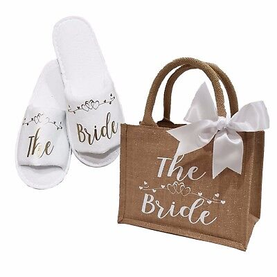 Bride Bridesmaid Hen Wedding Bridal Slippers & Glimmer Jute Bag Gift  *ANY ROLE*