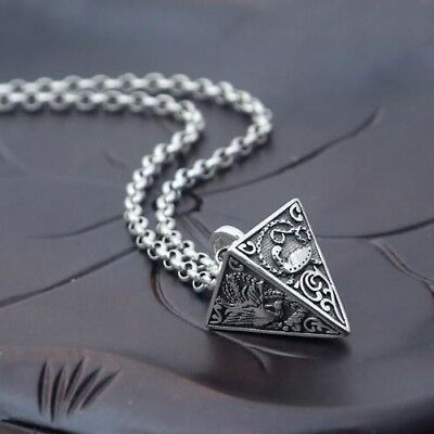 Beautiful 925 sterling silver Solid Triangle Pyramid Chain Pendant Necklace Gift
