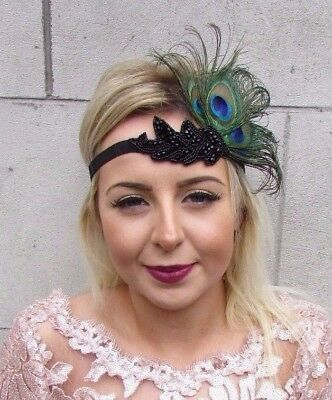 Black Green Peacock Feather Headpiece 1920s Headband Flapper Fascinator 4603
