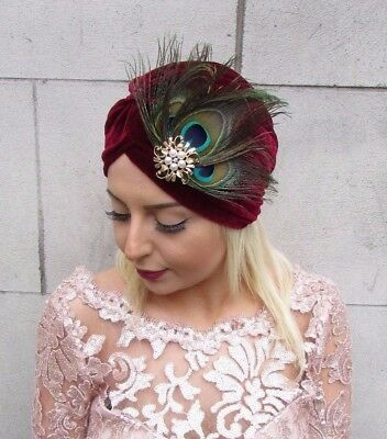Burgundy Wine Red Gold Peacock Feather Turban Headpiece 1920s Vintage Hair 4604