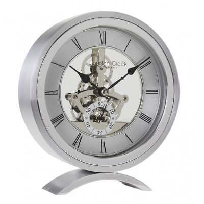 London Clock Company Round Skeleton Silver Finish Mantel Clock