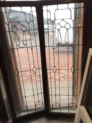 Sg 1673 Matched Pair Antique Leaded Glass Window 22.5 X 61 Tall