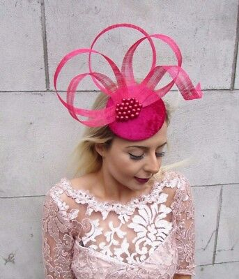 Cerise Hot Pink Fascinator Hat Hair Clip Pillbox Races Formal Cocktail 4607