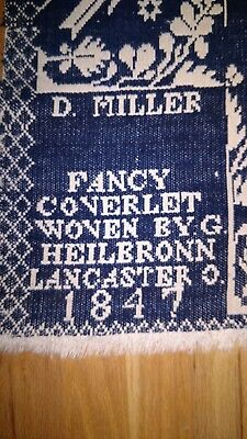 "Fancy COVERLET woven by HEILBRONN LANCASTER O. 1847 82"" x 66"""